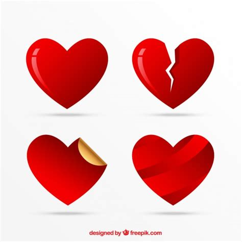 Heart Icons Set, love symbols Vector | Free Download
