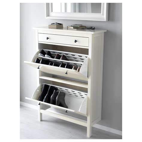HEMNES Shoe cabinet with 2 compartments White 89 x 127 cm ...
