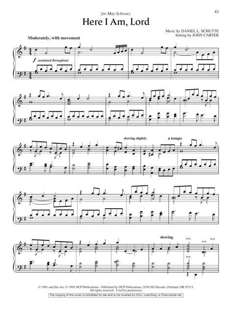 Here I Am, Lord Sheet Music | John Carter | Piano Solo