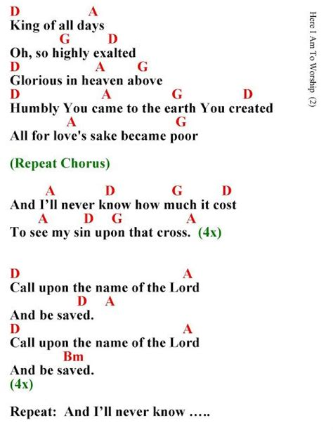 Here I AM to Worship Lyrics and Chords Take a look at the ...