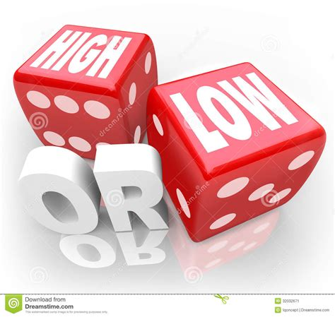 High Or Low Two Dice Words Minimum Maximum More Less Stock ...