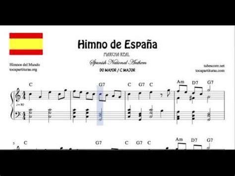 Himno de España Partitura de Piano en Do Mayor con Acordes ...