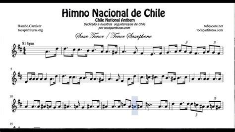 Himno Nacional de Chile Partitura de Saxofón Tenor   YouTube
