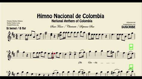 Himno Nacional de Colombia Partitura de Saxofón Tenor ...