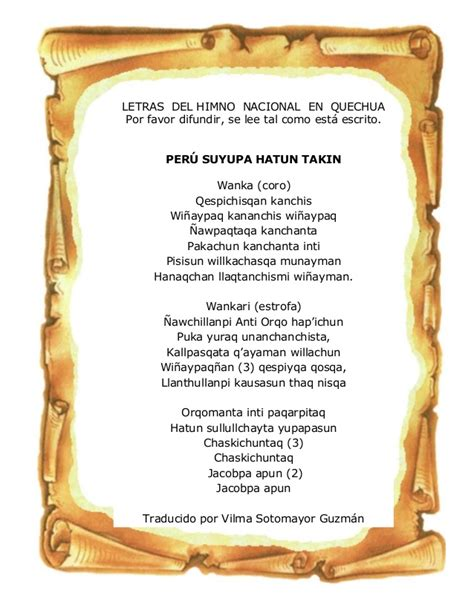 Himno nacional del Perú en quechua