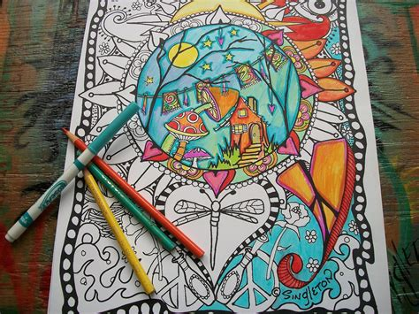 Hippie Coloring Pages Set of 2Home is Where your Hippie is