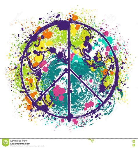 Hippie Peace Symbol On Earth Globe Background With ...
