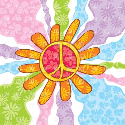 Hippie peace symbol with petals on abstract background ...