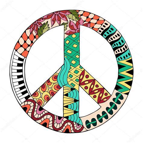 Hippie vintage peace symbol in zentangle style — Stock ...