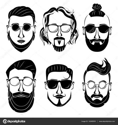 Hipsters barbudo a hombres con diferentes tipos de ...