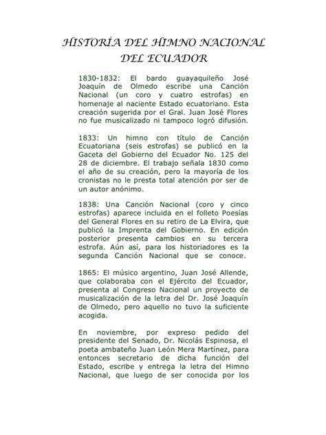 HISTORÍA DEL HIMNO NACIONAL DEL ECUADOR