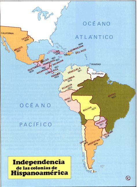 Historia para aburrir: MAPA DE INDEPENDENCIA DE AMÉRICA