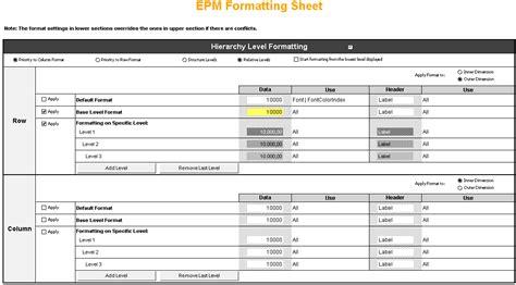 Hoja de formato del EPM Add-In (nombre por defecto ...
