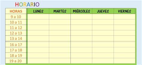 Hojas Excel facil: : Plantilla Excel horario escolar o ...