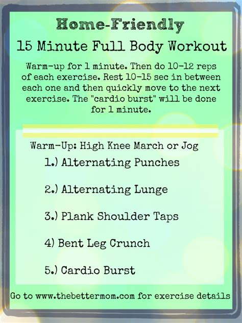 Home Friendly 15 Minute Full Body Routine! & Better Mom ...