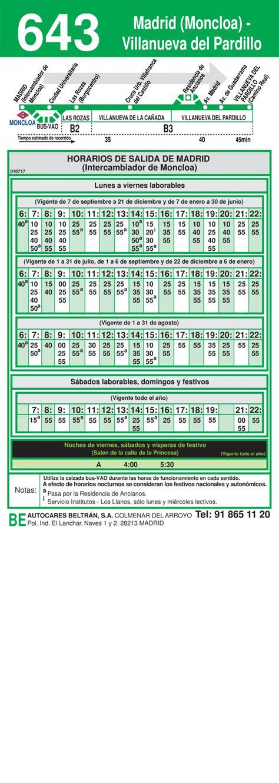 Horarios de autobús 643: Madrid (Moncloa) - Villanueva del ...