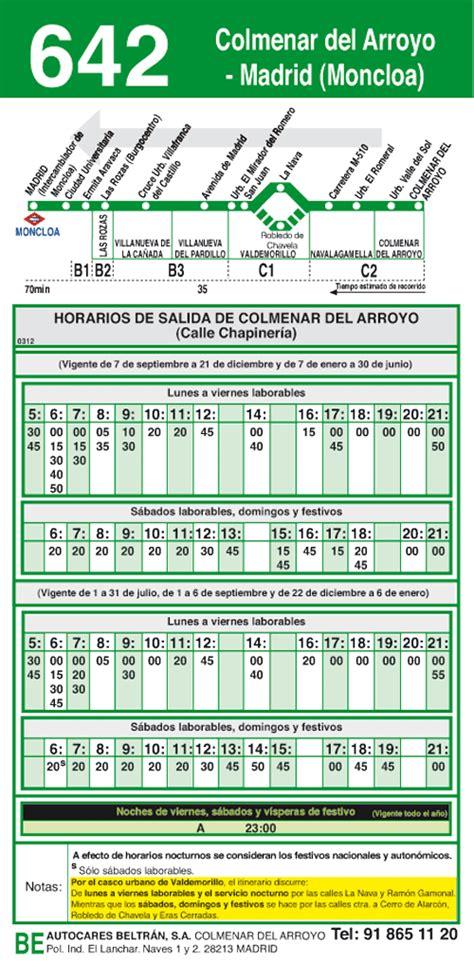 Horarios de VUELTA 642 Madrid Moncloa  Colmenar del Arroyo ...