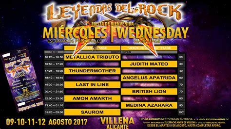 Horarios del LEYENDAS DEL ROCK 2017   Fotoconciertos