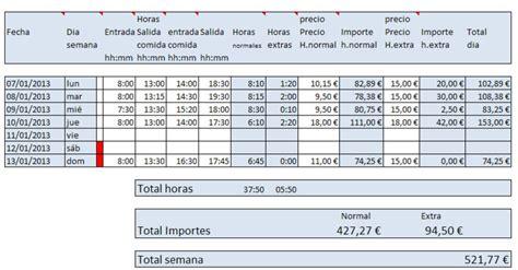 Horas trabajadas semanales en Excel   Descargar Gratis