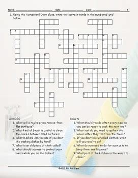 Household Chores-Cleaning Supplies Crossword Puzzle | TpT