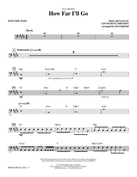 How Far I'll Go (from Moana) - Electric Bass | Sheet Music ...