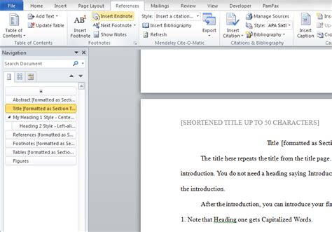 how to add page numbers and a table of contents to word ...