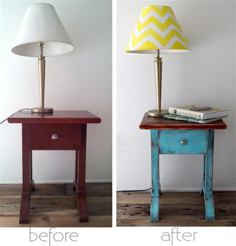 How to Chippy Paint a Table & paint a Chevron Lampshade