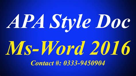 How to create APA style documents in ms word 2016