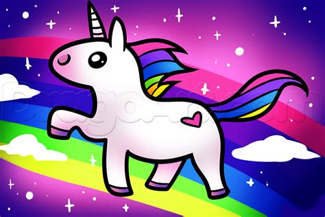 How to Draw a Kawaii Unicorn, Step by Step, Unicorns ...