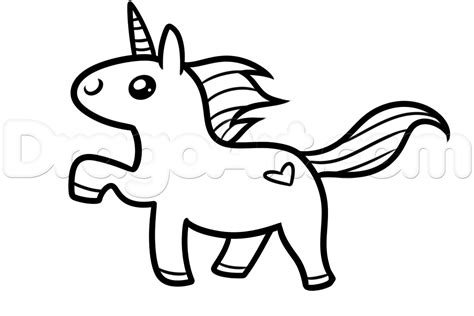 How to Draw a Kawaii Unicorn, Step by Step, Unicorns ...