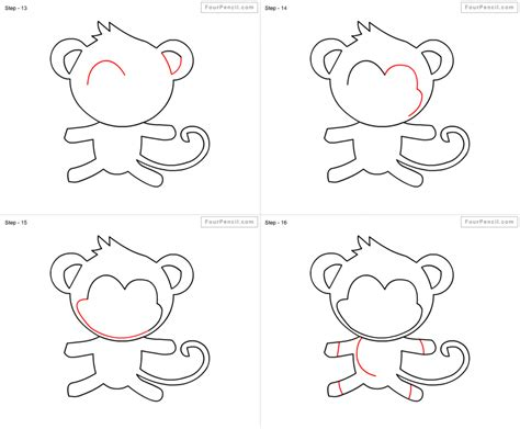 How To Draw A Monkey Hanging From A Tree Step By Step
