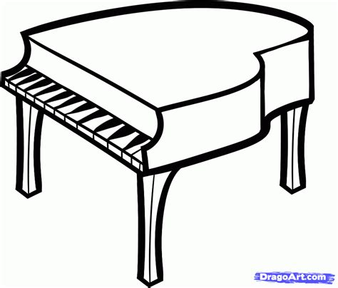 How to Draw a Piano For Kids, Step by Step, Percussion ...