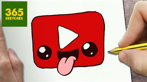 HOW TO DRAW A YOUTUBE LOGO CUTE, Easy step by step drawing ...