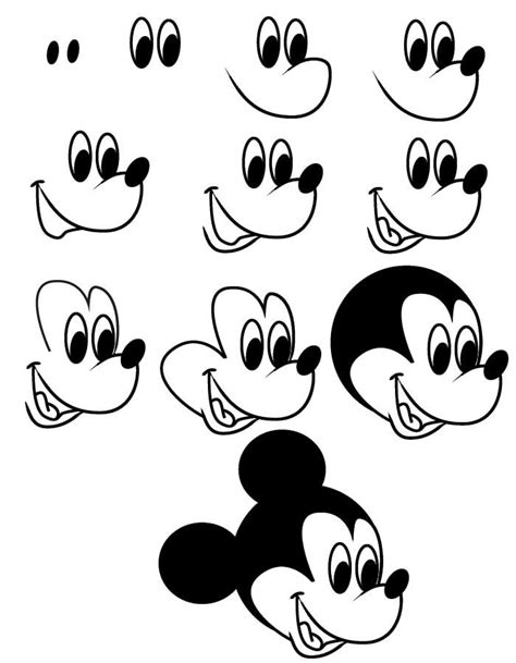 How to draw mickey head drawing mickey mouse ...