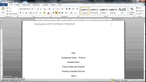 How to format a Word doc for writing an APA style college ...
