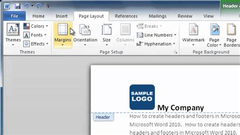 How to Make a Header and Footer in Word 2010 - YouTube