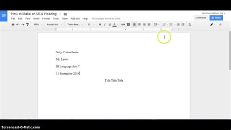 How to Make an MLA Heading in Google Docs - YouTube