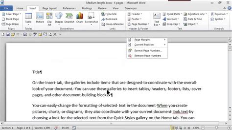 How to Make Headers & Consecutive Page Numbers Using Word ...