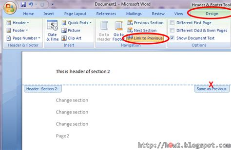 How To Put Different Headers On Each Page In Word 2003