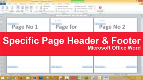 How to put specific page header or footer in Microsoft ...