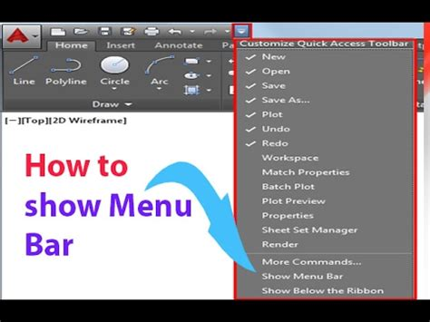 How to show Menu Bar in AutoCAD - YouTube