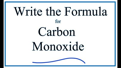 How to Write the Formula for Carbon Monoxide   YouTube
