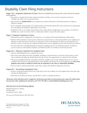 Humana Disability Claim Form   Fill Online, Printable ...