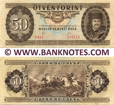 Hungary 50 Forint 1965 89   Hungarian Currency Bank Notes ...