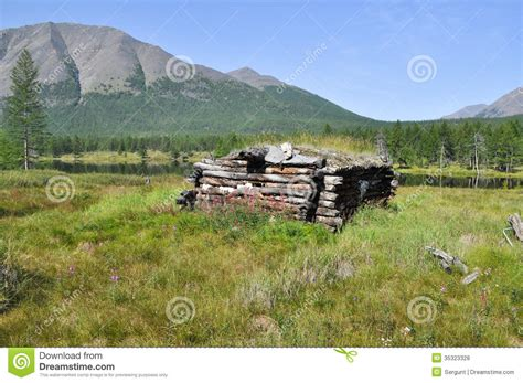 Hunter s Hut On The Shore Of The Lake. Royalty Free Stock ...