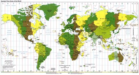 Husos horarios o zonas horarias en el Mundo - Tamaño completo