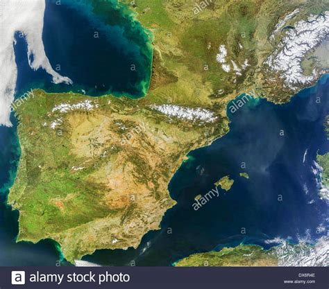 Iberian Peninsula aerial satellite image showing Spain ...