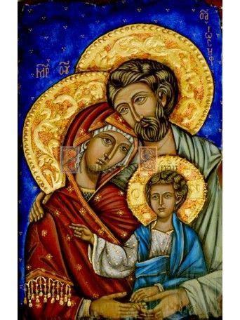 Icono de arte bizantino que representa la Sagrada Familia ...