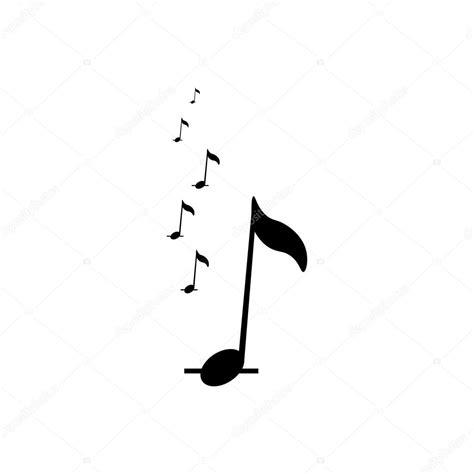 Icono de notas de música. Icono negro sobre fondo blanco ...