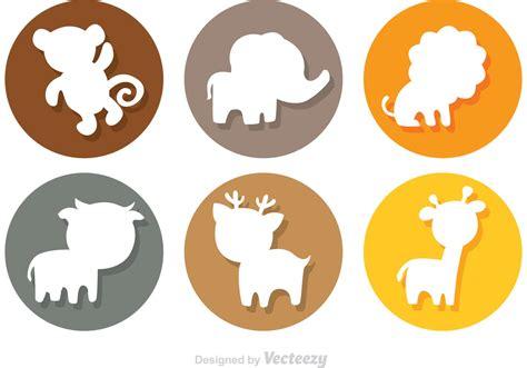 Iconos de círculo de silueta de dibujos animados de ...